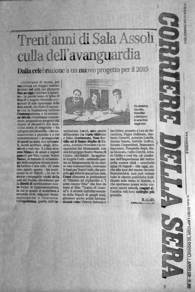 Corriere del Mezzogiorno,  6 dicembre 2014